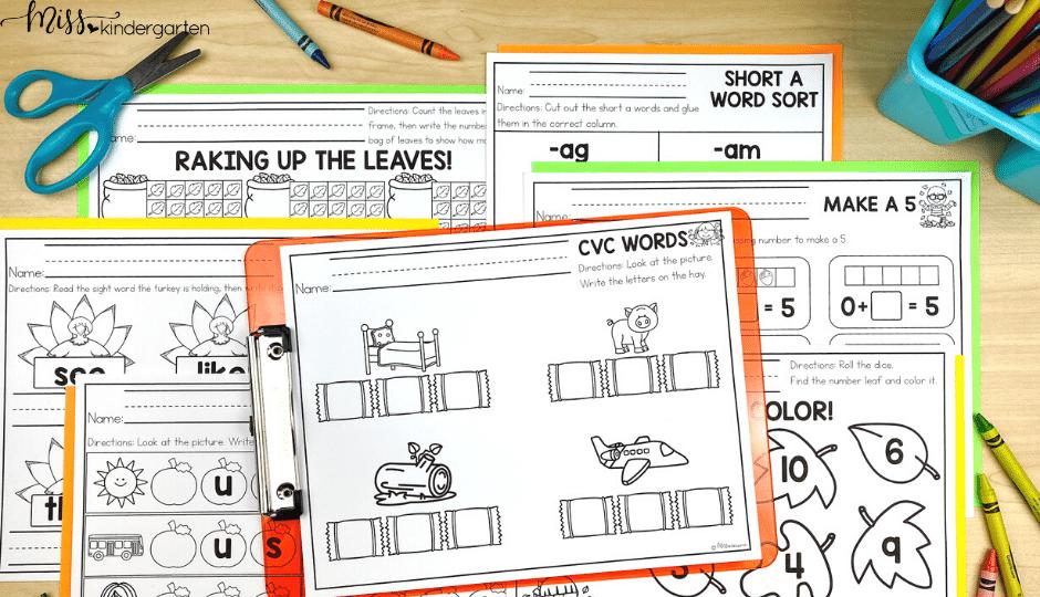 November kindergarten printables for math and literacy