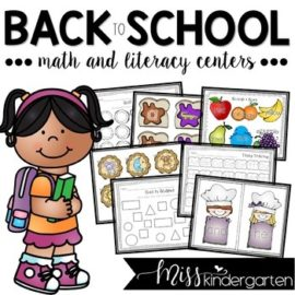 Back to School Math and Literacy Centers for Kindergarten