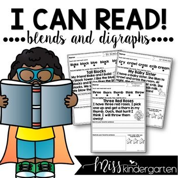 Blends and Digraphs Reading Fluency Passages | Distance Learning and Seesaw