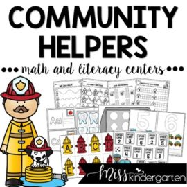 Community Helpers Centers for Math and Literacy for Kindergarten