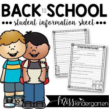 Editable Student Information Sheet