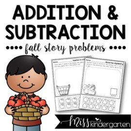 Fall Math Story Problems Addition and Subtraction