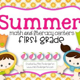 First Grade Math Centers and Literacy Centers for Summer