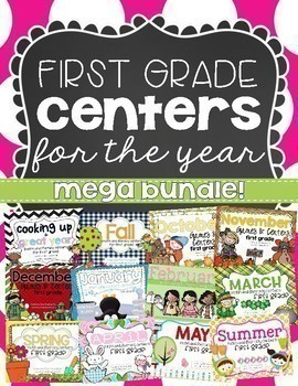 First Grade Math Centers and Literacy Centers for the Year