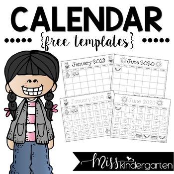 Kids Calendar 2022.Free Calendar Templates 2021 2022 Miss Kindergarten