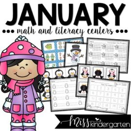 January Centers for Kindergarten Math and Literacy