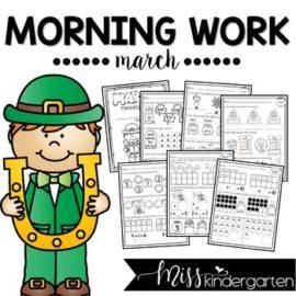 March Morning Work for Kindergarten