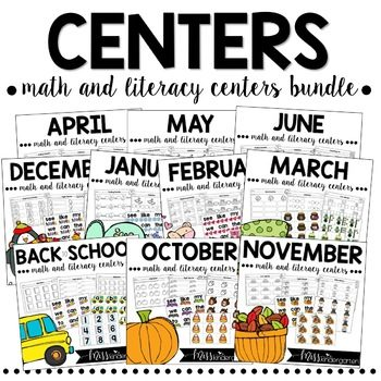 Monthly kindergarten centers for math and literacy skills
