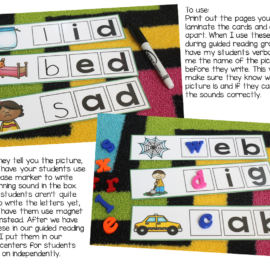 Phonics Activities Beginning Sounds Practice {write and wipe cards}
