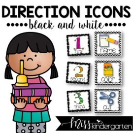 Picture Directions Cards Black and White Background