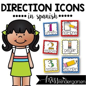 Picture Direction Icons in Spanish (primary colors)