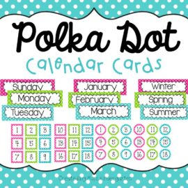 Polka Dot Calendar Cards