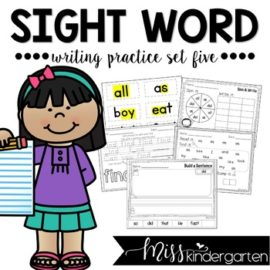 Sight Words Worksheets Set Five