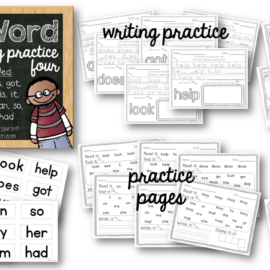 Sight Words Worksheets Set Four