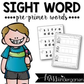 Sight Words Worksheets Pre-primer Words