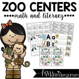 Zoo Activities and Centers for Math and Literacy for Kindergarten