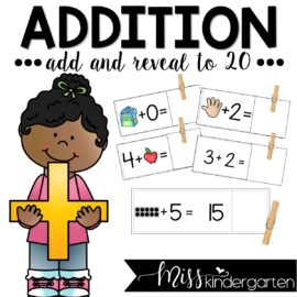 Addition to 20 Math Fact Fluency with Add and Reveal Cards