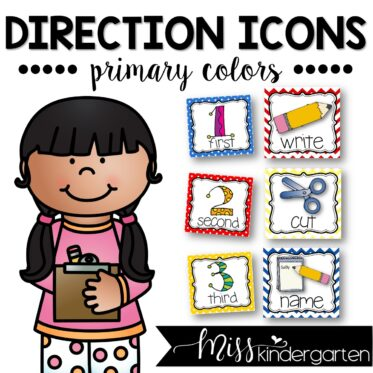Picture Direction Cards Primary Colors