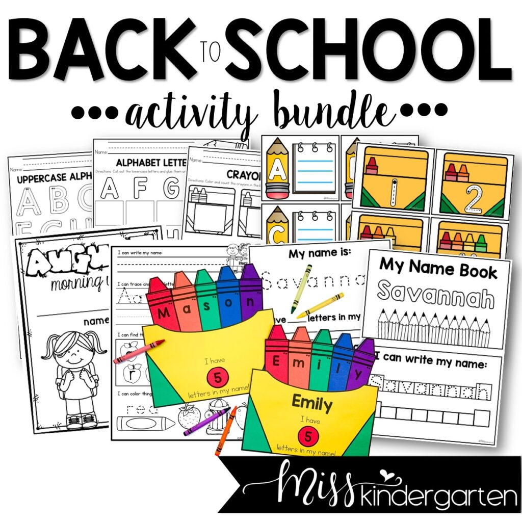 Back to school activities including the crayon box name craft