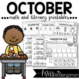 October Print and Go Printables