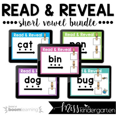 CVC Boom Cards™ Read and Reveal Short Vowels