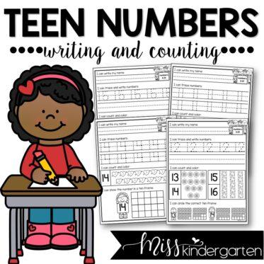 Teen Numbers Worksheets