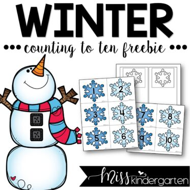 Winter Counting To Ten Center Activity