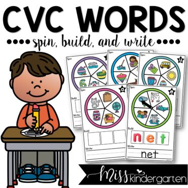 CVC Words Spin Build and Write Center Activity