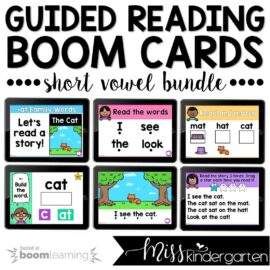 Digital Guided Reading Boom Cards™ | Short Vowel CVC Words Growing Bundle