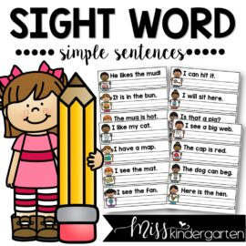 Sight Word Sentence Writing Strips