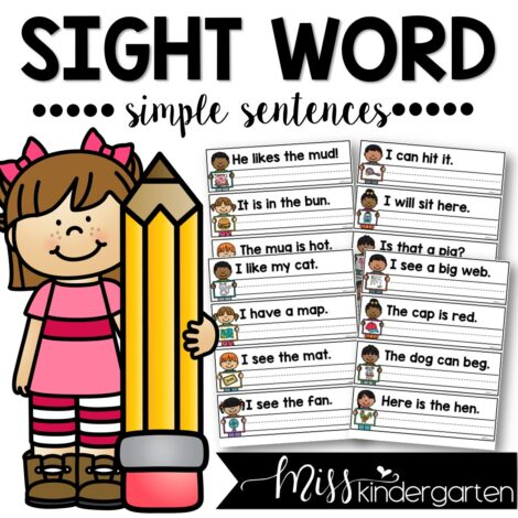 Sight Word Simple Sentences work on reading and writing CVC Words and Sight Words. Makes a great word work center or morning work activity.