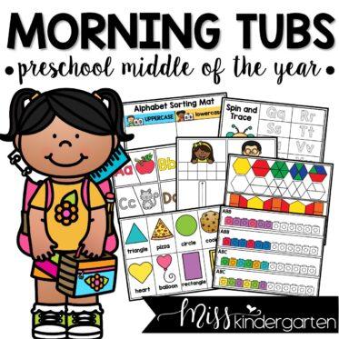 PreK / Preschool Morning Work Tubs Middle of the Year