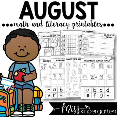 August no prep kindergarten printables for math and literacy