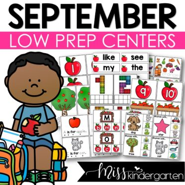 Low Prep September Centers   Math and Literacy