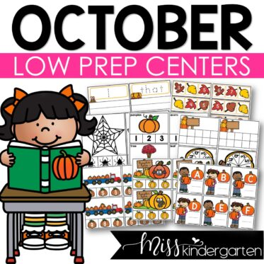 Low Prep October Centers   Math and Literacy