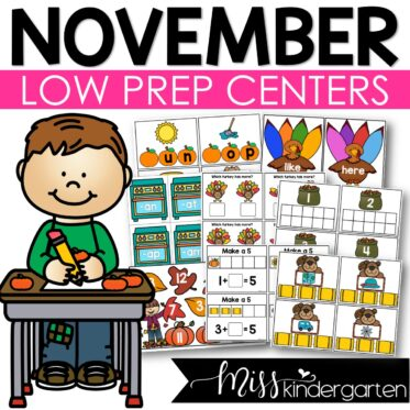 Low Prep November Centers   Math and Literacy