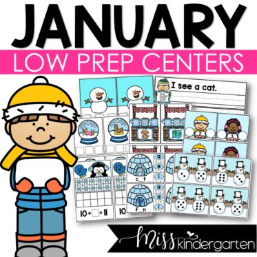 Low Prep January Centers   Math and Literacy