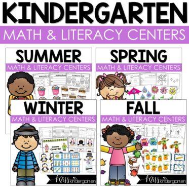 seasonal math and literacy centers for kindergarten
